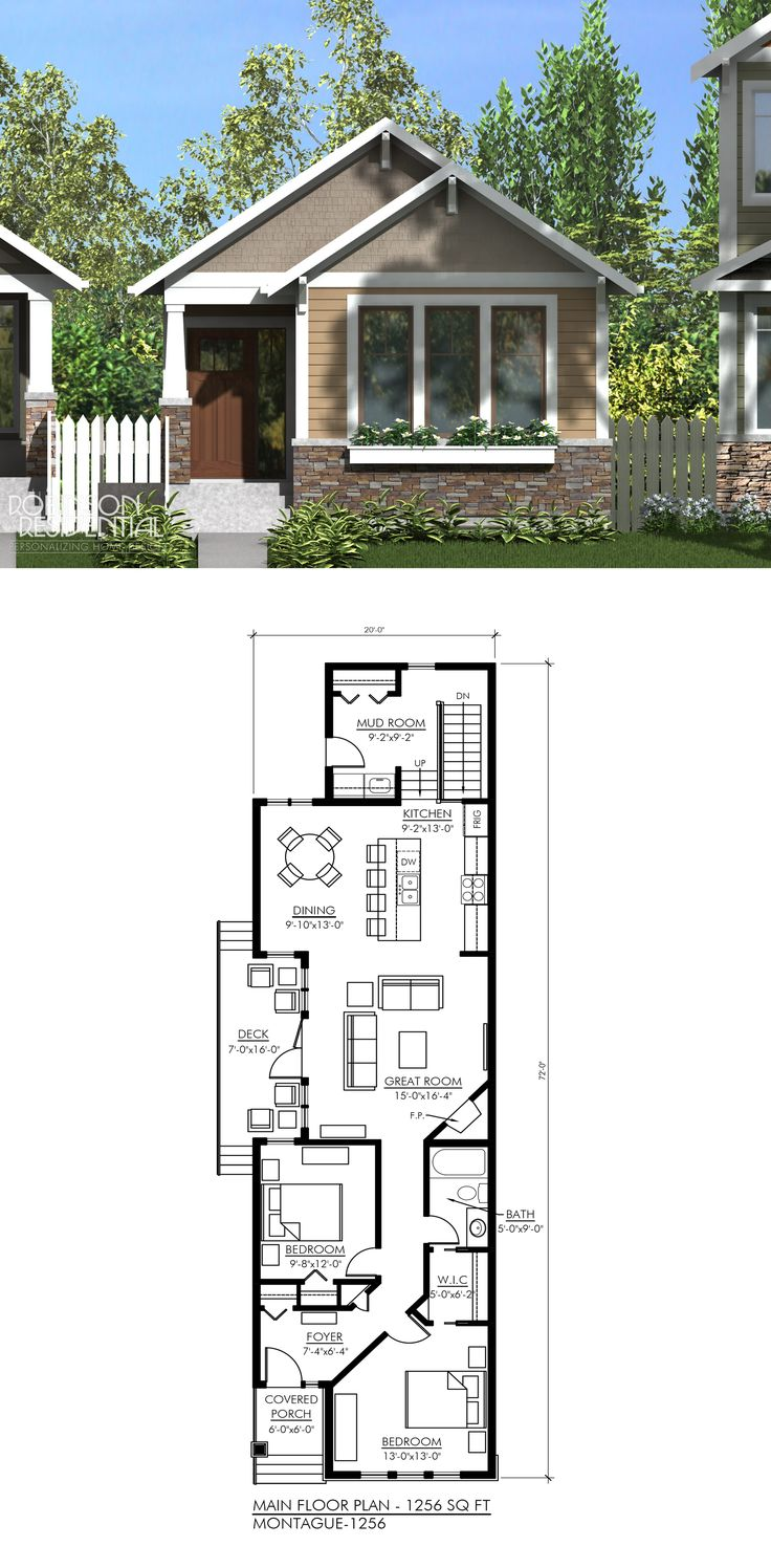 1256 sq. ft, 2 bedrooms, 1 bath. Can add another ensuite bathroom replacing covered porch, wic instead of another foyer.