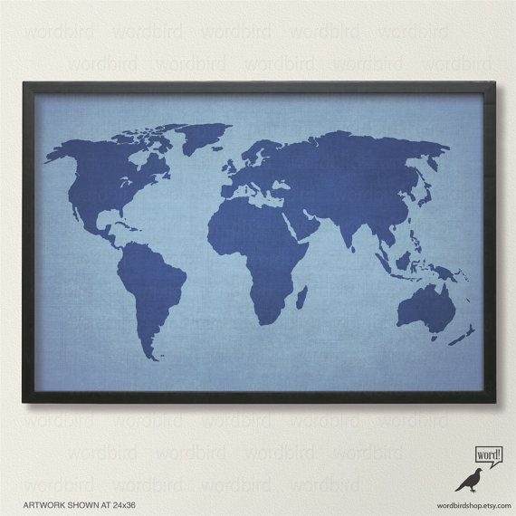 44 best world maps images on pinterest world maps world map art navy blue world map by wordbirdshop gumiabroncs Gallery