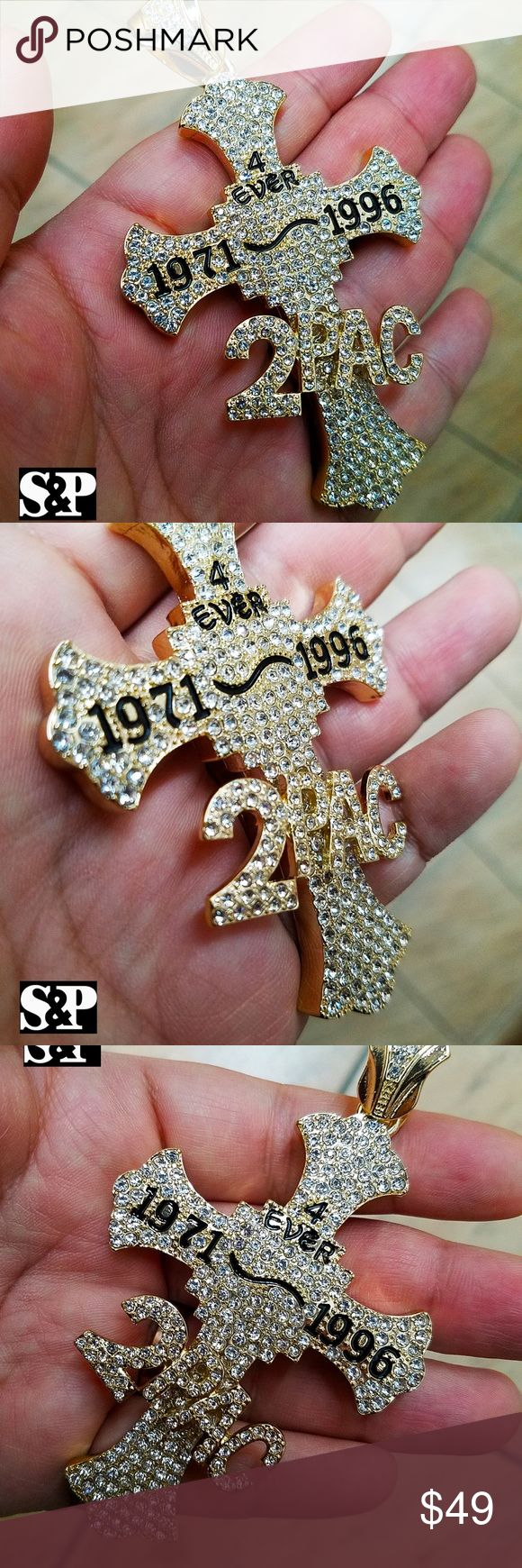 "HIP HOP ICED OUT GOLD PT 2PAC CROSS LARGE PENDANT Brand New   Hip Hop Celebrity Style Pendant   14K GOLD PLATED  SIZE OF PENDANT : 2.25"" X 4""  Lab Diamonds on pendant  High Quality & Polished Accessories Jewelry"