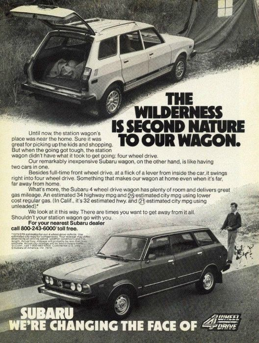 """An original 1979 advertisement for the Subaru Station Wagon car. Photo print of a man walking his dog. Detailing affordability and it's four wheel drive. :The Wilderness is Second Nature To Our Wagon"""""""