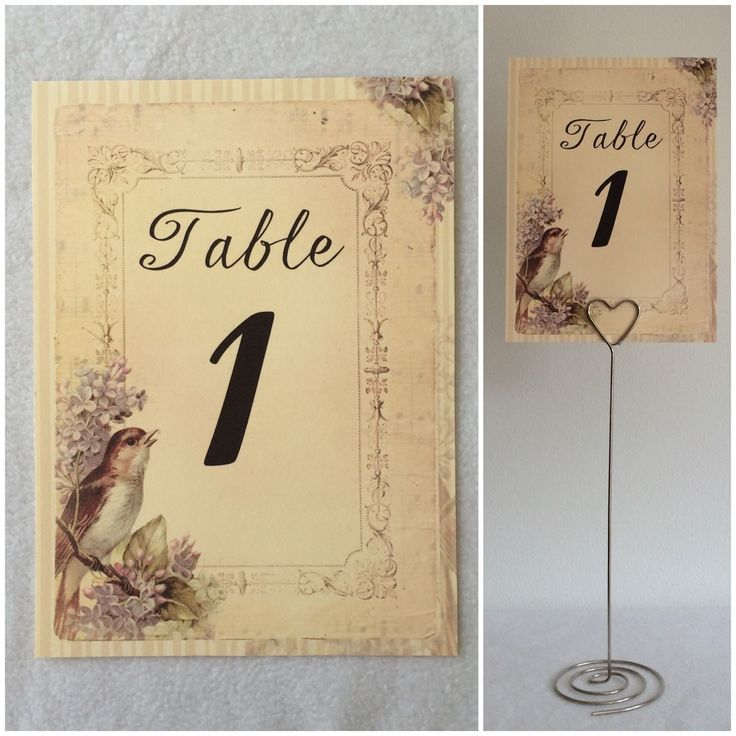 Vintage Pastel Bird Style Wedding Table Numbers Cards - Shabby Chic Decor in Casa, arredamento e bricolage, Decorazioni matrimonio, Centritavola e decorazioni   eBay