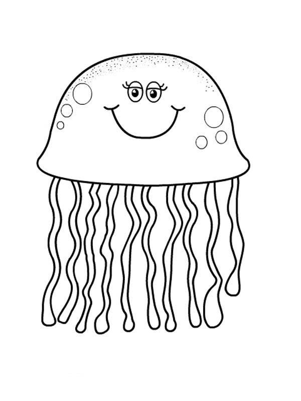 Jellyfish Pretty Eyes Jellyfish Coloring Page Jpg Fish