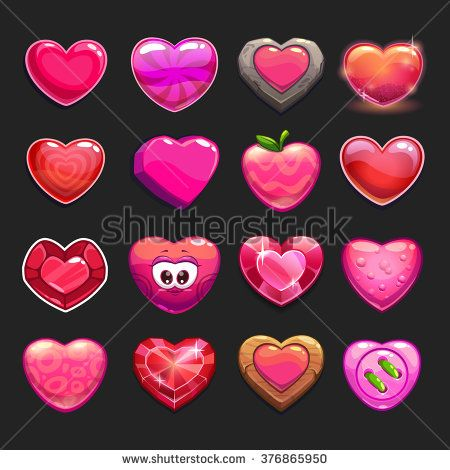 Cartoon vector heart icons set, cool game assets collection for gui design - stock vector
