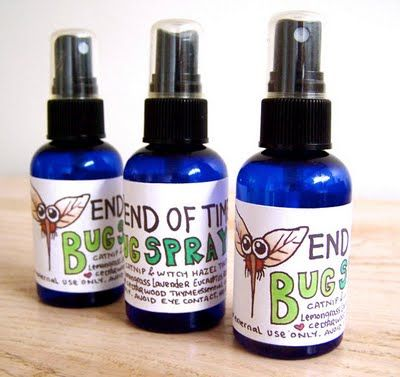 Essential Oil Bug Spray   Fill spray bottle (8 oz) 1/2 full with distilled or boiled water  Add witch hazel to fill almost to the top  Add 30-50 drops of essential oils to desired scent.  Essential oils: choose from Citronella, Clove, Lemongrass, Rosemary, Tea Tree, Cajeput, Eucalyptus, Cedar, Catnip, Lavender, Mint