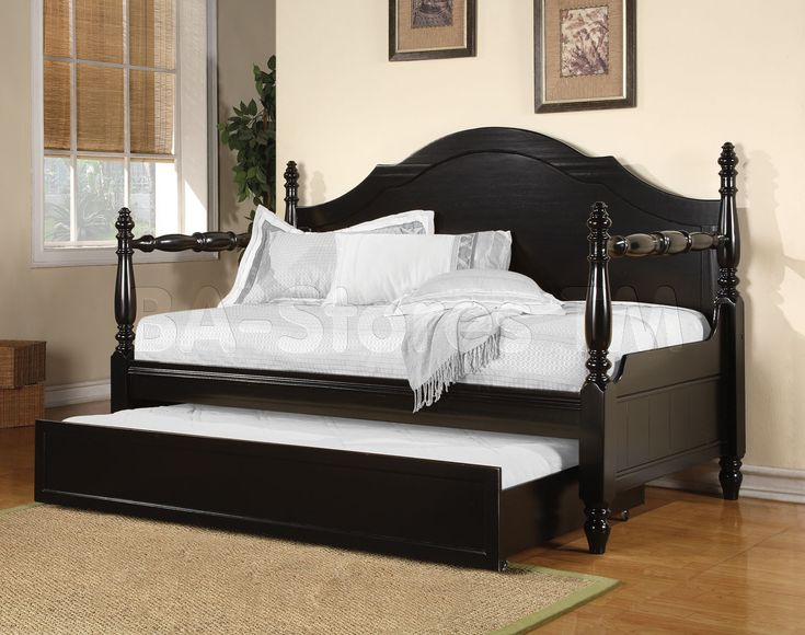 Acme Classic Round Carved Finials Posts Poster Black Wood Day Bed Daybed  with Trundle - Best 25+ Wooden Daybed With Trundle Ideas On Pinterest Daybed