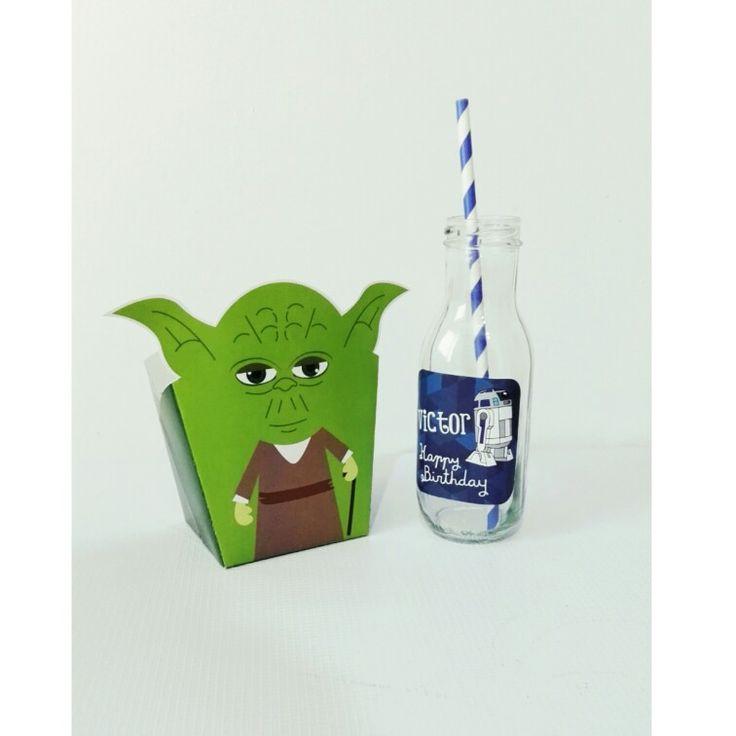 Caja de dulces Yoda/ botella r2 d2.  #starwars #candybox #personalizedbottle #decoration