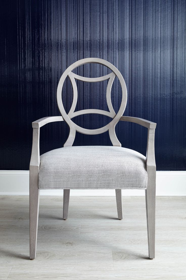 TOP PICK #1 via Jennifer Brouwer www.jenniferbrouwerdesign.com  Bernhardt Criteria Arm Chair Soft touch, low-sheen glossy, pale warm Heather Gray finish. Astroid shape (eg, neoclassic star-circle) backsplat and arm are curved for extra seating comfort. Shown in a multi-tone grey woven, also available in other fabrics and COM. Criteria Arm Chair is also available in a moody Compass Blue wood finish. W24 D263/8 H391/2 in. #HPmkt