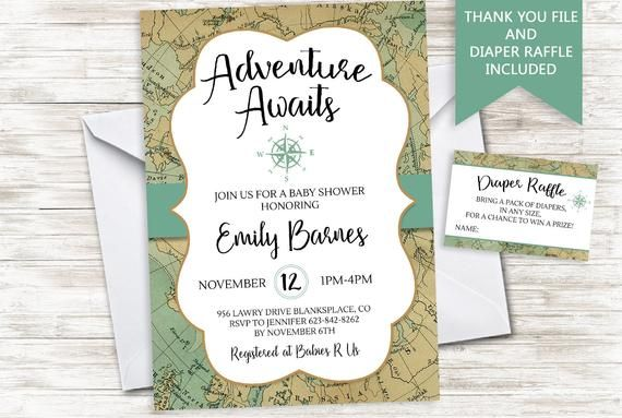 Adventure Awaits Baby Shower Invite Invitation World Map 5x7 Traveler Travel Greatest Sprinkle Baby Shower Invitations Invitations Baby Shower