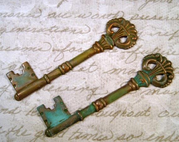 Verdigris Patina Brass Victorian Key