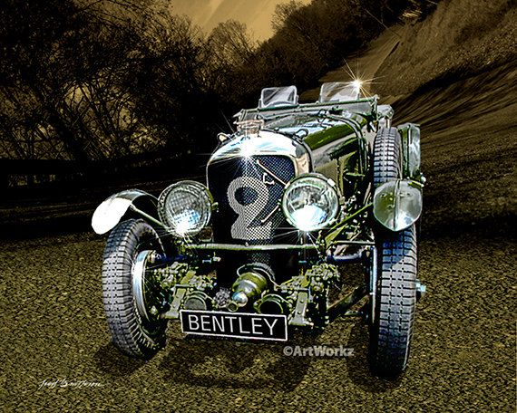 Classic Car Print  1927 Blower Bently  Retro Print  by ArtWorkz, $20.00