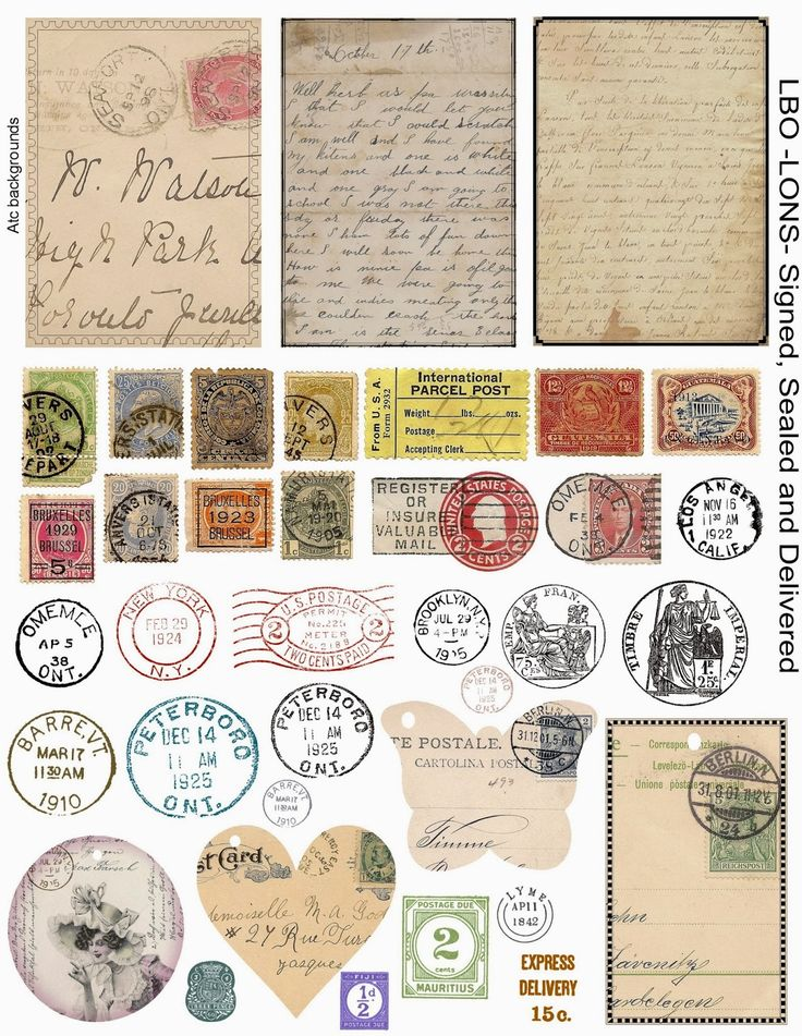 Free mail collage art printables - from 'Land of Nod Studio's...' #ephemera # postage #stamps