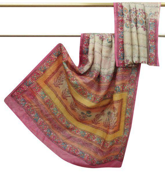 Vintage Nice Printed Khadi Silk Saree Dress Making Sari Beige Craft Fabric Used 5 Yard PSK1466 8