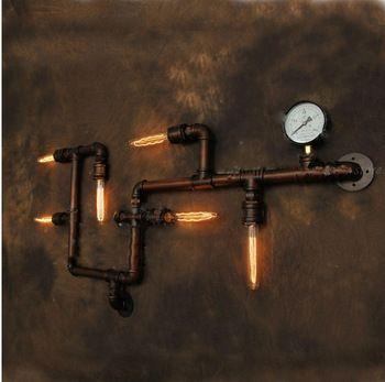 Бра водопровод старинные прохода лампы лофт железная стена лампы цоколем E27 эдисон лампы светильник