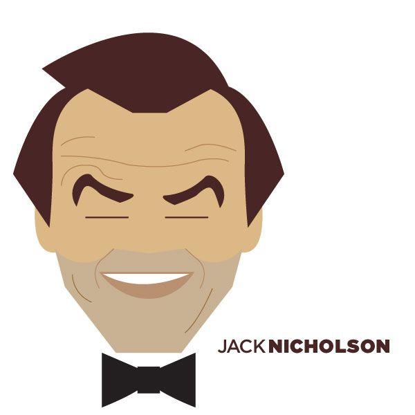 Illustrated Portraits by Jag Nagra: Minimalist Portraits, Crazy Caricatures, De Jag, Graphics Design, Jag Nagra, Hollywoodillustr Icons, Jack Nicholson, Jan Nagra, Celebrity Portraits