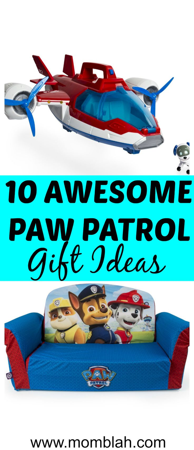 www.momblah.com  Awesome Paw Patrol Gift Ideas guaranteed to please your toddler or preschooler!  motherhood, momhacks, gift ideas, preschoolers, paw patrol
