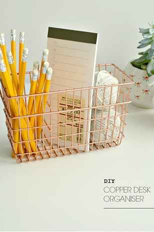 I love this copper basket idea. copper is my favorite metallic color BEFORE gold. super cute and universals with any room color.