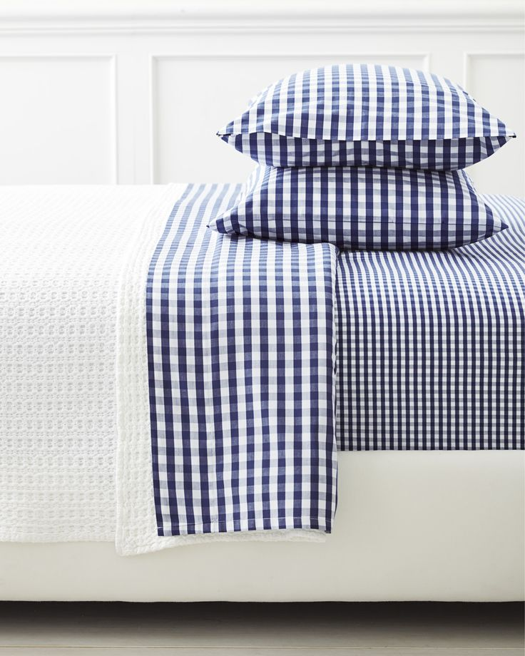 A classic pattern in a classic color palette | Gingham Sheet Set in Midnight via Serena & Lily