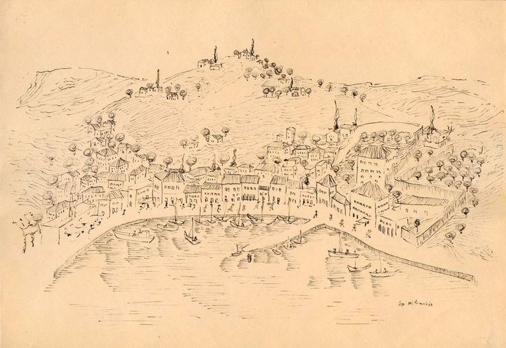 Greek Island, ink by Greek Spyros Milonakis (1925-2014) via Galerie Zygos