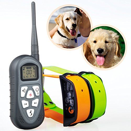 Aetertek At-219 Updated Dog Shock Collar Rechargeable Dog Bark Collar 600 Yard Remote Shock Control Pet Dog Training Collar Shock Collar with LCD Displayer Auto Anti-bark for 2 Large Dog Training Collar