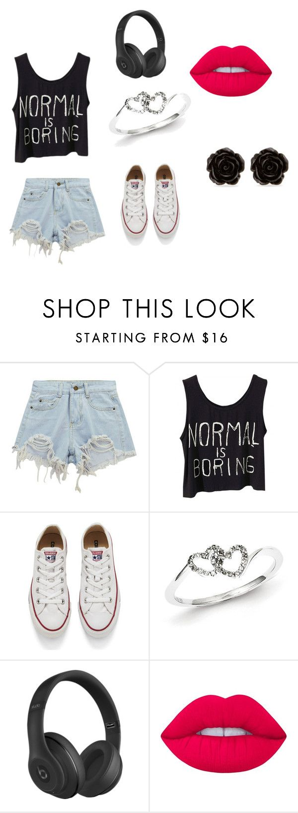 """The william"" by midnight952857 ❤ liked on Polyvore featuring Chicnova Fashion, Converse, Kevin Jewelers, Beats by Dr. Dre, Lime Crime and Erica Lyons"