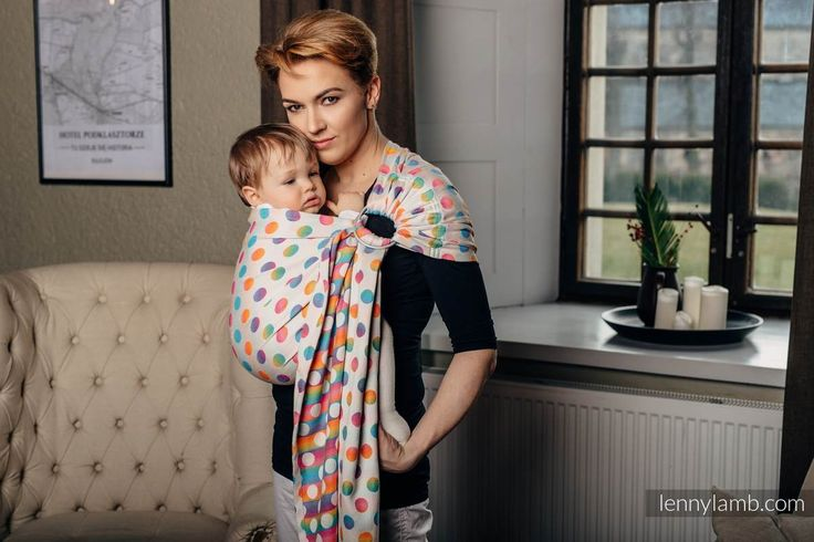 RINGSLING, JACQUARD WEAVE (100% COTTON) - WITH GATHERED SHOULDER - POLKA DOTS RAINBOW #babywearing