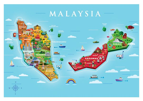 Visit Malaysia 2015 Map - Yen Pooi Tan #MalaysiaHolidayPackages #MalaysiaPackages  #ColorfulVacations