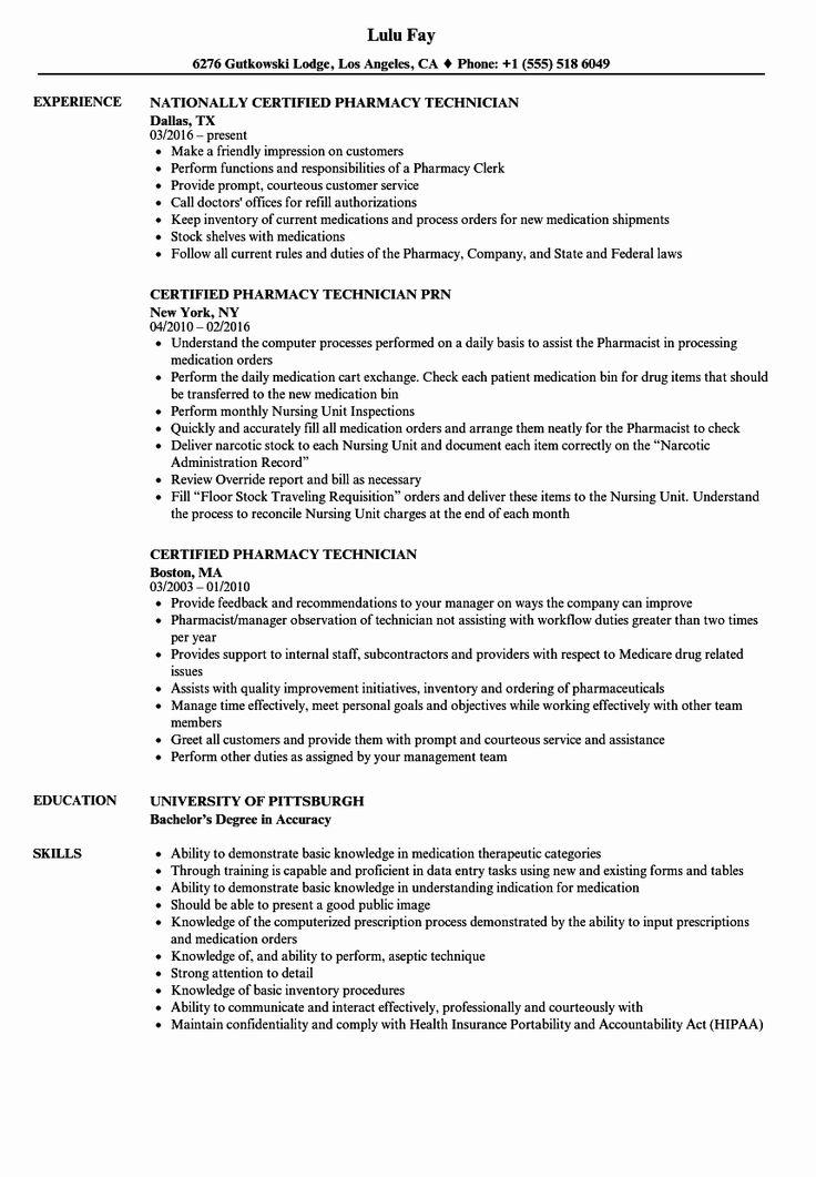 Pharmacy Technician Resume Examples New Certified Pharmacy