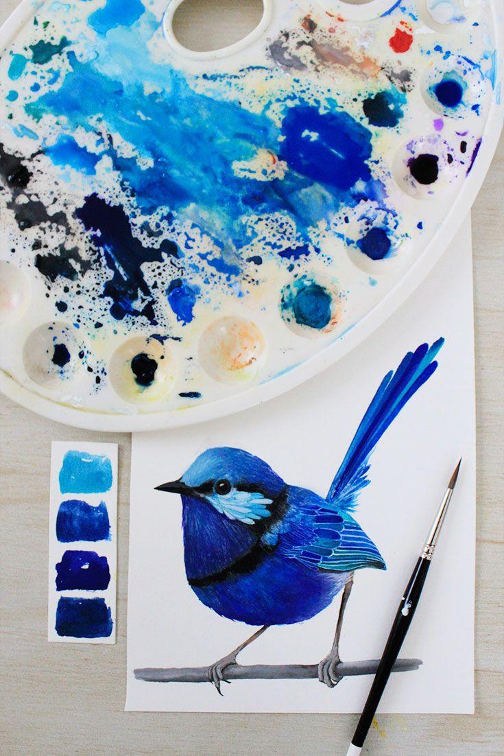 Splendid Fairy Wren   Painting by PRINTSPIRING   Paintbrush, palette, bird painting flatlay   Art work in progress   www.instagram.com/printspiring