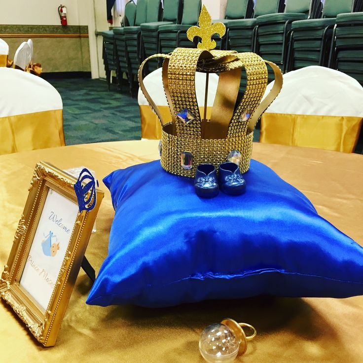 Royal prince baby shower centerpieces. These royal crowns and pillows were hand made.