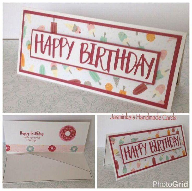 Money Wallet card using CTMH Sugar Rush papers & Happy Birthday thin cut.