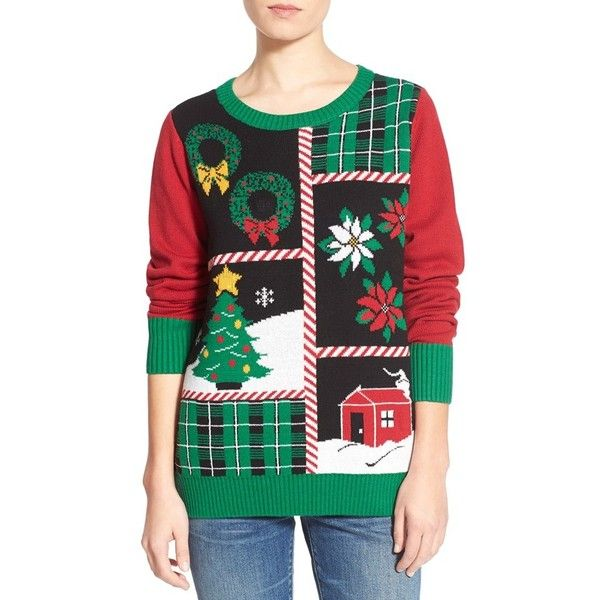 Junior Ugly Christmas Sweater 'Patchwork' Light-Up Sweater ($48) ❤ liked on Polyvore featuring tops, sweaters, black, black crew neck sweater, christmas tops, going out tops, party tops and patchwork sweater