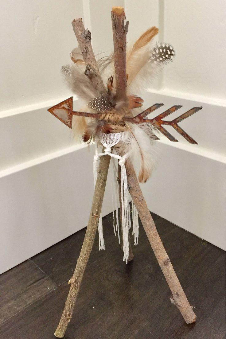 Boho Tee Pee Centerpiece, Pow Wow Weddding, Baby Shower, Wild One Birthday, Tribal Baby, Indian, Arrows, Coachella party, girls room by Rusticredoo on Etsy https://www.etsy.com/listing/544799827/boho-tee-pee-centerpiece-pow-wow