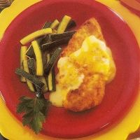 Deluxe Chicken Breasts Recipe. Healthy Meals in Minutes recipe cards. Breaded chicken breast with cheese sauce. I LOVE this recipe. Have been making it for 15 years:)