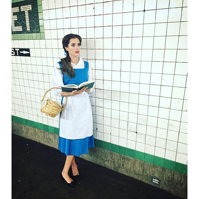 Pin for Later: All the Celebrity Halloween Costumes of 2015 Allison Williams as Belle From Beauty and the Beast