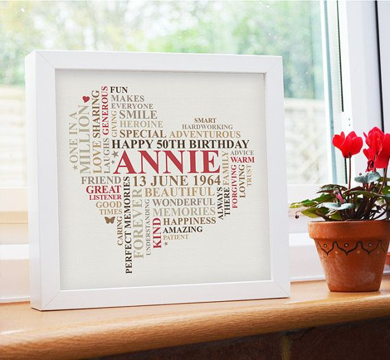 A lovely personalised birthday gift guaranteed to make her smile.  This framed artwork is printed on off-white heavyweight flat matt paper which gives clear sharp text and color. There is a second option to have textured paper which gives more of a vintage distressed effect and can leave a textured, unpredictable finish to the ink. Presented in a sealed 10x10 box frame.  Get a 12x12 GALLERY CANVAS for the same price: www.etsy.com/listing/195709199/ Order as a PRINTABLE FILE…