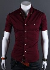 Camisa Casual Slim Fit Manga Curta - Botões com Detalhes  - em Vinho, Preto e Caqui