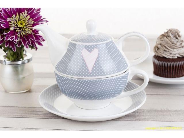 Zestaw do herbaty Tea for one Amelie kropeczki z serduszkiem