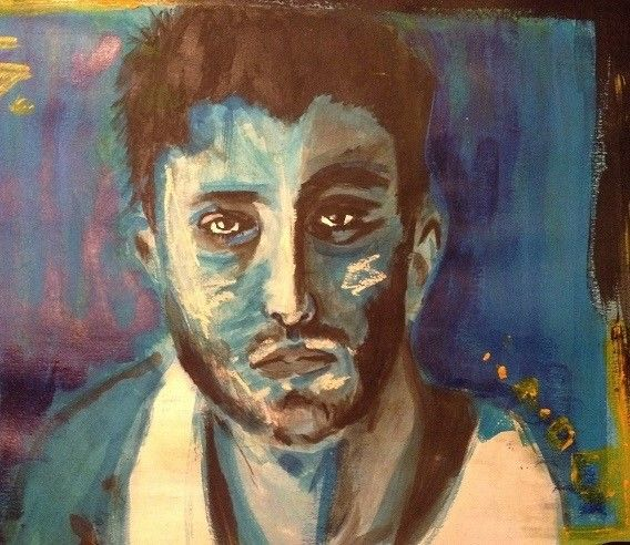 Felling blue maybe... Watercolor or aquarell painting mixed with pastell, and acrylic paint. Man face watercolor. Facebook page: Mirjam's Art https://www.facebook.com/pages/Mirjams-Art/152757271491447?ref=bookmarks