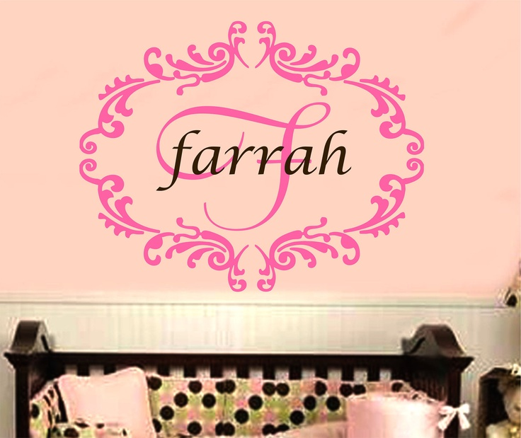 baby girl damask wall decal name nursery monogram vinyl sticker decor 1 via etsy. Black Bedroom Furniture Sets. Home Design Ideas