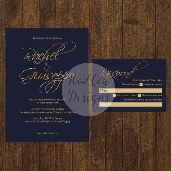 Navy and Gold Wedding Invitation, Classic Wedding Invitation, Elegant Wedding Invitation, Simple Wedding Invite, Modern Wedding Invitation