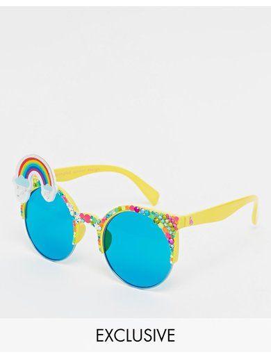Spangled Rainbow Brow Wow Sunglasses - Yellow