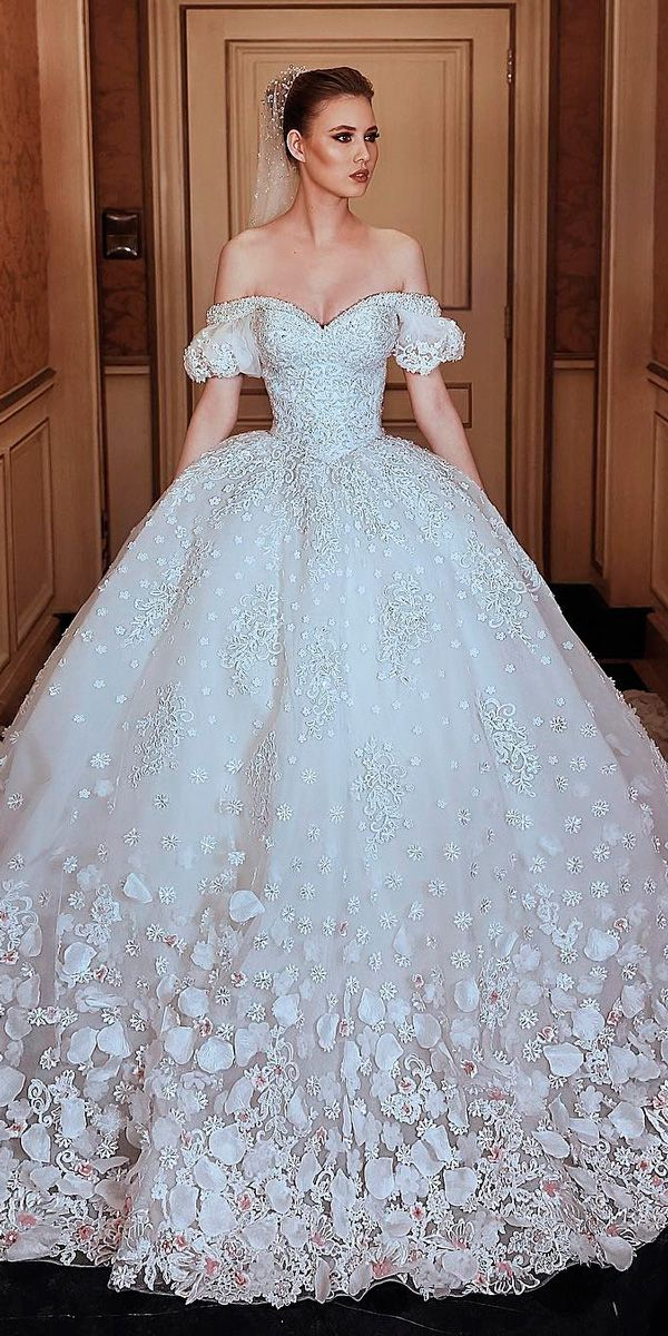 30 Disney Wedding Dresses For Fairy Tale Inspiration ❤ disney wedding dresses sleeping beauty lace ball gown off the shoulder floral with sleeves lanterns sadek majed couture ❤ See more: http://www.weddingforward.com/disney-wedding-dresses/ #weddingforward #wedding #bride