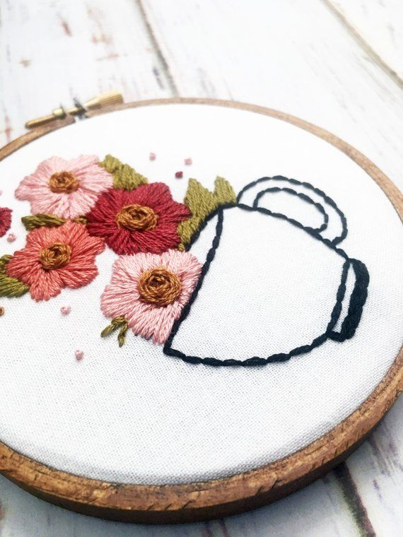 Coffee Embroidery Hand Embroidery Coffee artwork Coffee lover Floral