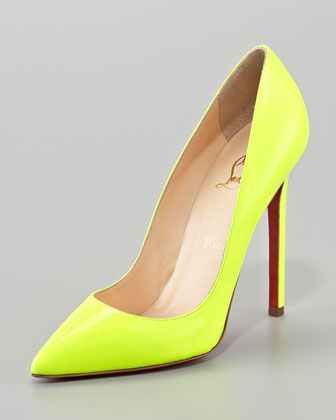 CL neon yellow pump for spring. Saw these on Courtney Kardashian and loved. Perfect w jeans or shorts