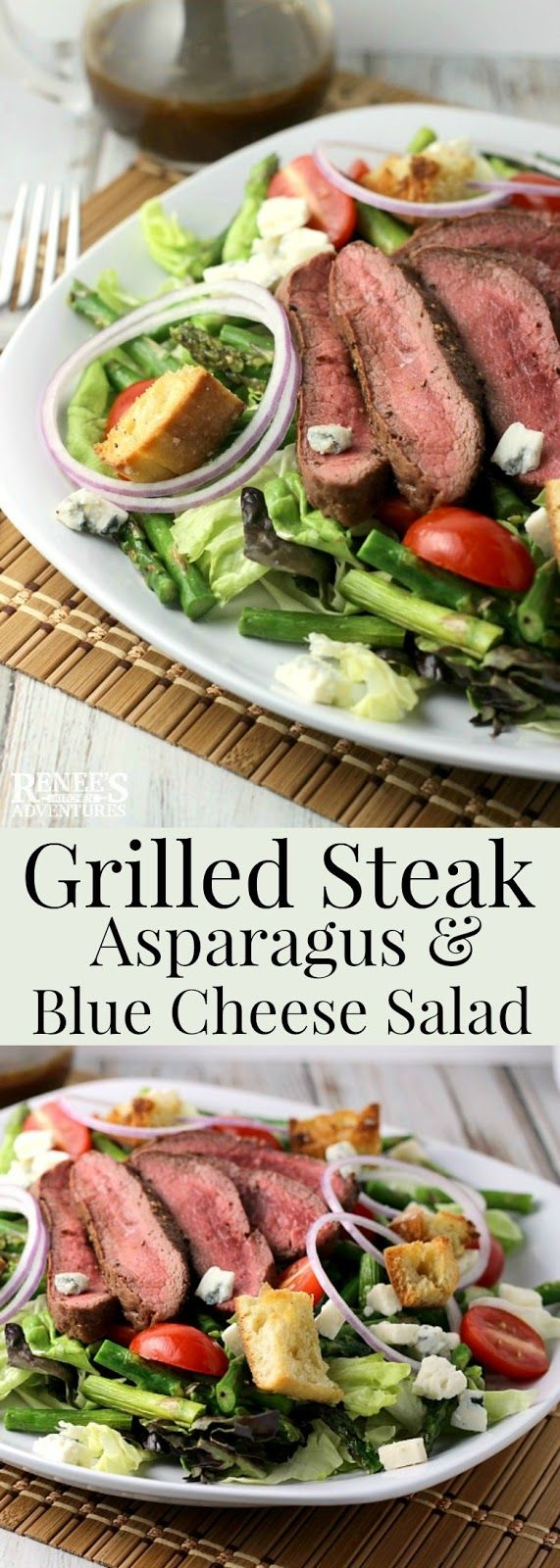 Grilled Steak, Asparagus, and Blue Cheese Salad   Renee's Kitchen Adventures - easy main course salad recipe for steak, fresh asparagus, blue cheese, tomatoes, red onions, and ciabatta croutons. Perfect spring dinner recipe.