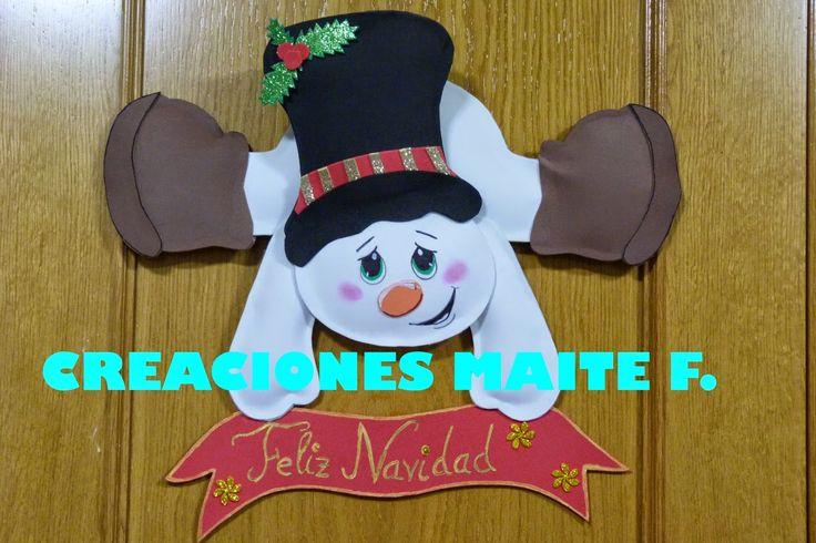 cartel para puerta muñeco de nieve en goma eva