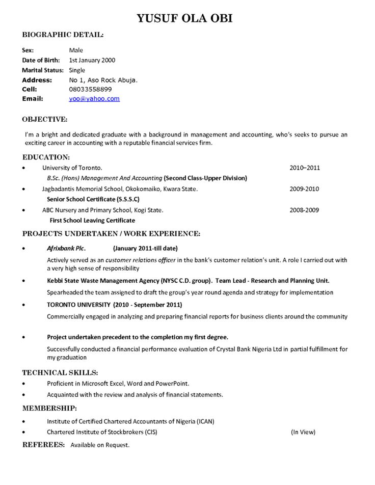 21 best CV images on Pinterest Sample resume, Resume and Resume - fresh graduate resume