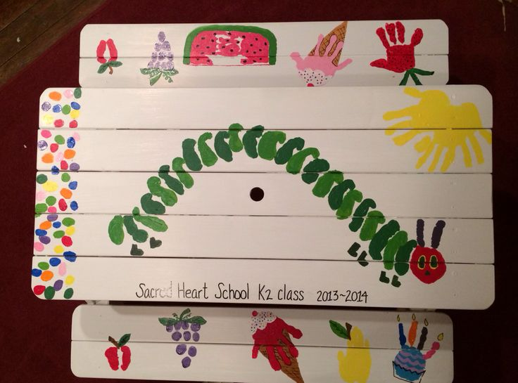 very hungry caterpillar handprint picnic table for silent school auction class gift