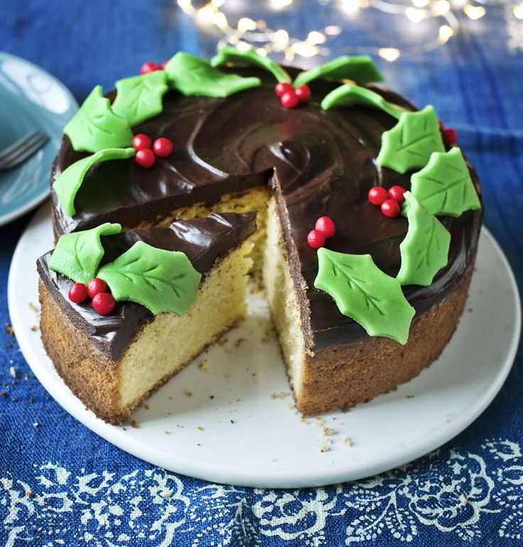 Try this moist, lemony sponge topped with chocolate ganache and marzipan decorations as a last-minute alternative to Christmas cake