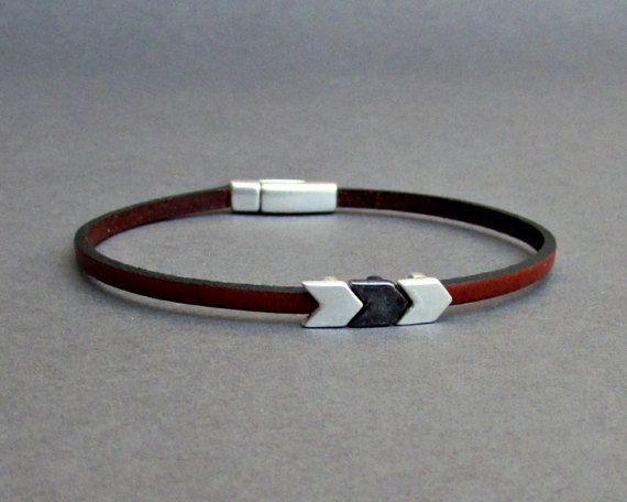 Arrowhead Bracelet Mens Tiny Leather Bracelet Spear by GUSFREE